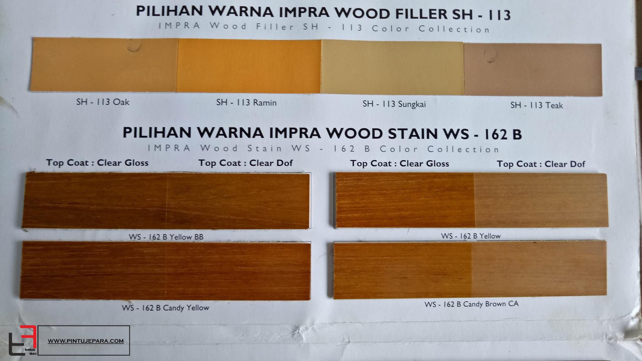 Sample Warna Finishing Pintu Jati