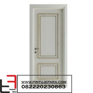 Pintu Klasik Cat Putih Single 2 Panel Lis Gold PJ-034