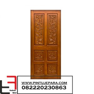 Pintu Kayu Jati Ukiran Single 6 Panel PJ-064