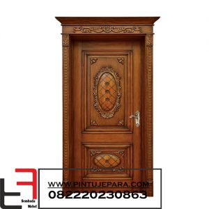 Pintu Ukir Kayu Jati Single Plus Kusen PJ-094