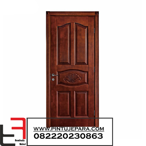 Pintu Kayu Jati Klasik Ukiran Finishing Salak Brown