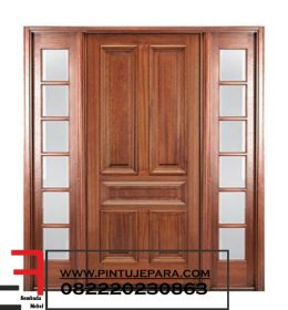 Kusen Pintu Utama Jati 5 Panel Daun Single Jendel Double