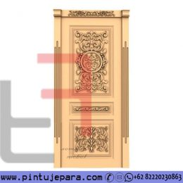 Pintu Mewah Ukiran 1 Daun Finishing Cream Gold PJ-277