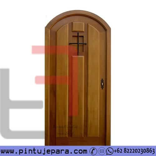 Pintu Single Jati Lengkung Panel Timbul PJ-298
