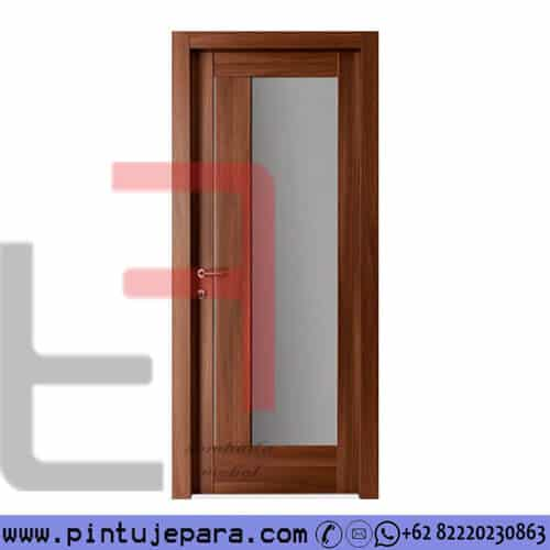 Pintu Jati Minimalis Single 1 Panel Kaca PJ-344