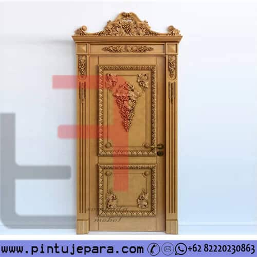 Pintu Jati Ukir 3D Daun Single PJ-326