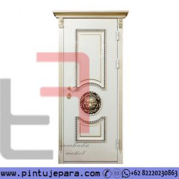 Pintu Ukiran Daun SIngle Cat Duco Modern Klasik Putih Gold PJ-395