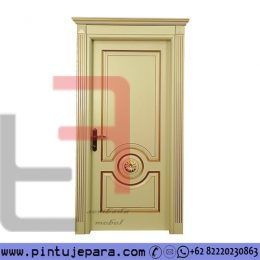 Pintu Klasik Jepara Cat Duco Cream Daun Single PJ-580