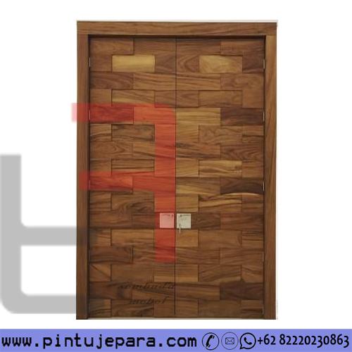 Pintu Rumah Jati Perhutani Minimalis Daun Double PJ-608